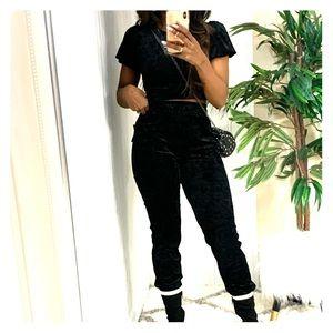 Black velvet track suit